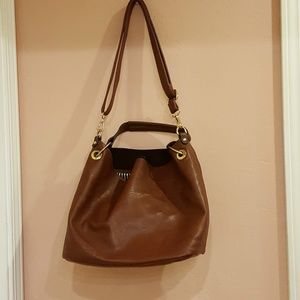 Charming Charlie Brown Leather Tote Bag